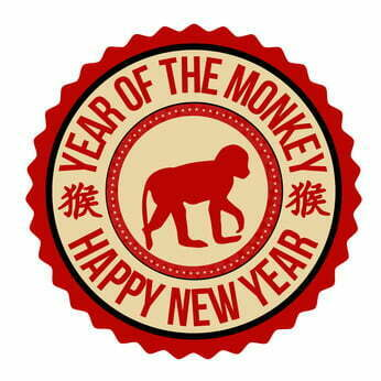 Monkey chinese zodiac label or stamp on white background, vector illustration